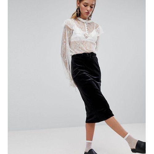ribbed velvet midi skirt - black marki Monki