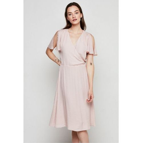 Jasnoróżowa sukienka z kopertowym dekoltem - marki Patrizia aryton