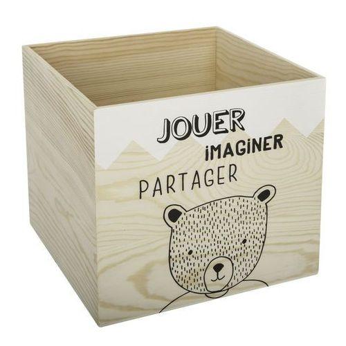 Drewniana skrzynia na zabawki z misiem, pojemnik na klocki, skrzynka drewniana, pojemniki na zabawki, pudełka na zabawki, pudełko (3560239688105)