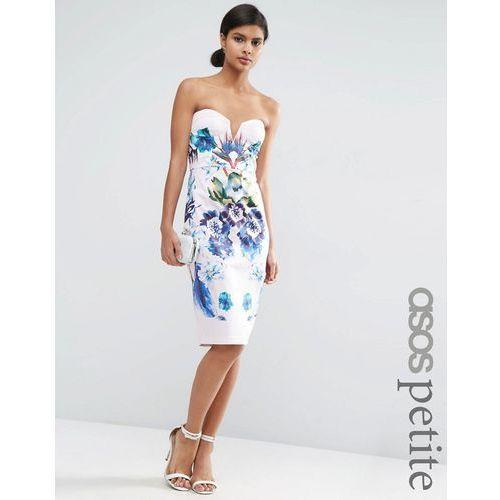 ASOS PETITE Placed Blue Floral Cup Bandeau Midi Pencil Dress - Multi, kolor niebieski