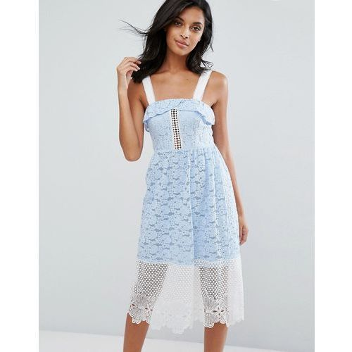 River island embroided lace and mesh midi dress - blue