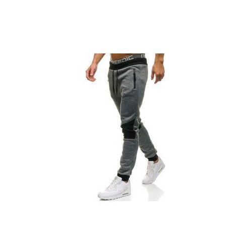 Spodnie męskie dresowe joggery szare Denley W1209, dresowe