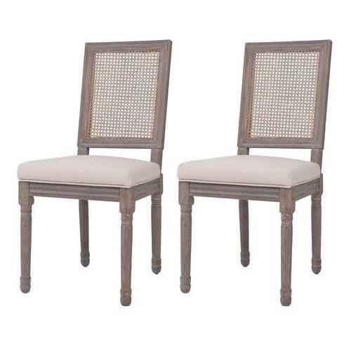 Krzesła do jadalni tapicerowane lnem, 2 szt., rattan, kremowe, kolor beżowy
