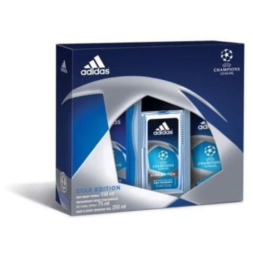ZESTAW ADIDAS UEFA Champions League DEZODORANT SZKŁO 75ml + DEZODORANT 150ml + ŻEL POD PRYSZNIC 250ml (3614221746295)