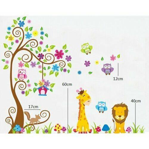4-home Naklejka dekoracyjna kolorowy las zwierząt