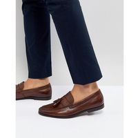 Walk london tassel leather loafers in brown - brown