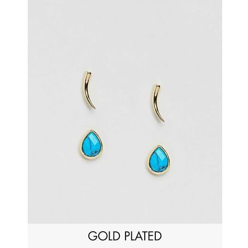 Orelia gold & blue stud earrings pack - blue