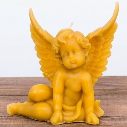 Świeca woskowa anioł siedzący duży (130 mm / 125 mm) Łysoń (5906660818762)