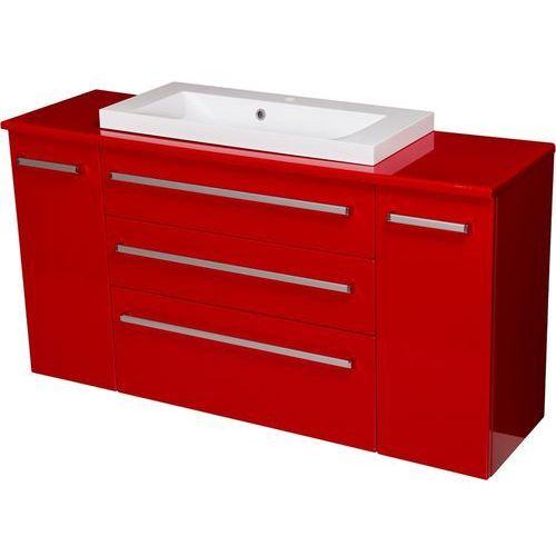 Czerwona szafka wisząca z umywalką 140/39/c3 seria fokus cz marki Gante