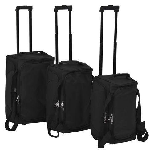vidaXL 3-częściowy zestaw walizek podróżnych, czarny (8718475565581)