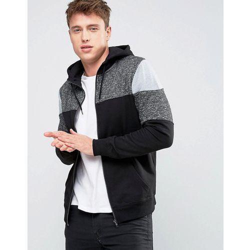 New Look Zip Through Hoodie With Fabric Block Detail In Black - Black