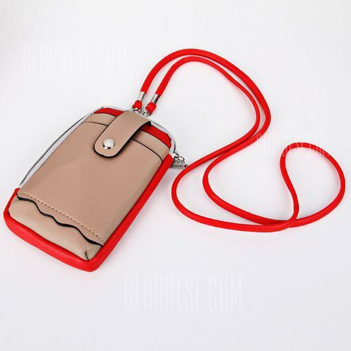 Cute Zipper Design Universal Mobile Phone Leather Pouch Case with Shoulder Strap z kategorii Pozostałe