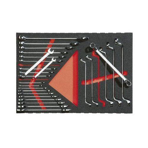 Zestaw narzędzi we wkładce z miękkiej gąbki, klucz oczkowy i szczękowy, 27-częśc marki Vigor
