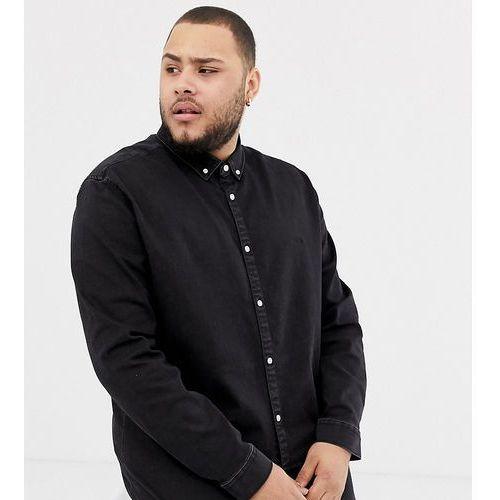 big & tall slim stretch denim shirt in black wash - black, River island, XXXL-XXXXL