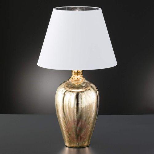 Fischer & honsel Lśniąca lampa stołowa belly, złota ceram. stopa (4001133592352)