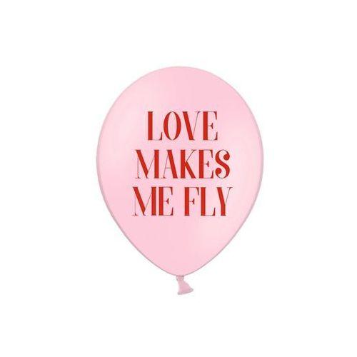 Party deco Balony z nadrukiem love makes me fly na walentynki - 30 cm - 50 szt.
