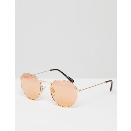 River Island Round Sunglasses With Rose Tint And Gold Trim - Gold