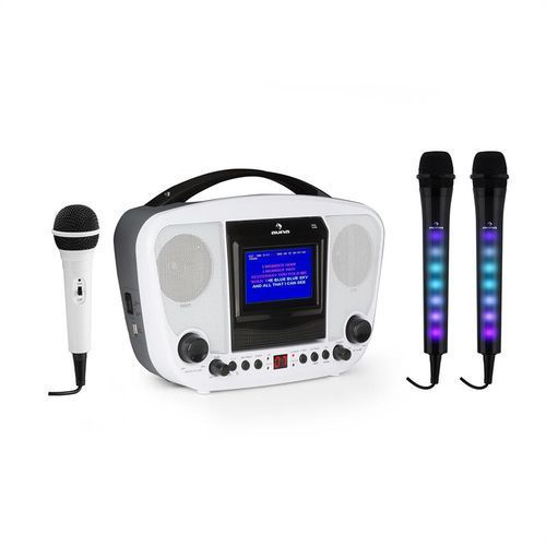 karabanga + dazzl zestaw do karaoke z mikrofonami bluetooth wyświetlacz tft marki Auna