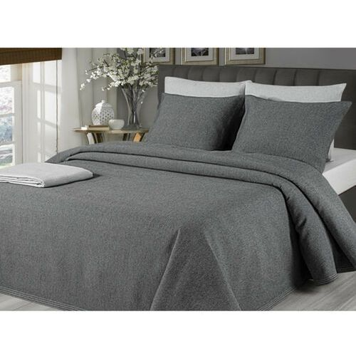Pikowana narzuta na łóżko chenonceau 220 × 260 cm + 2 poszewki 60 × 60 cm – kolor antracytowy marki Vente-unique
