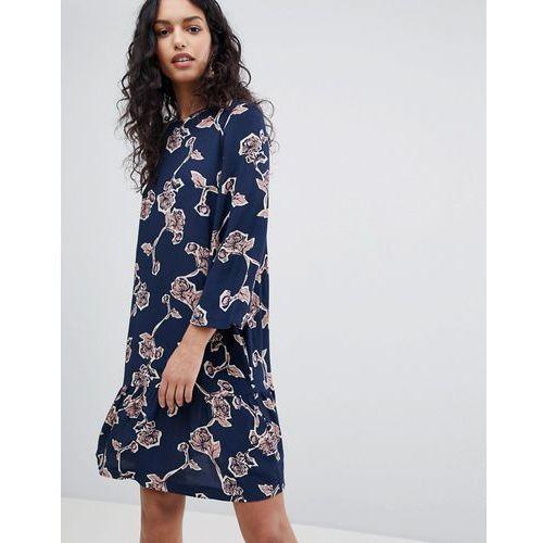 Y.A.S Coller Floral Print Skater Dress - Navy