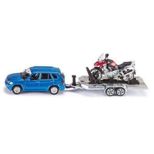 Siku Zabawka  samochód bmw x5 z lawetą i motorem