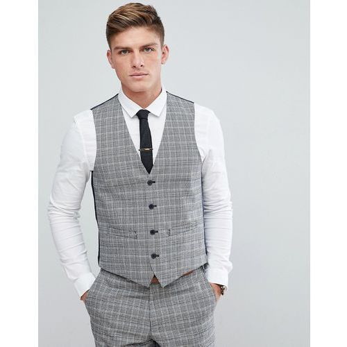 prince of wales blue check slim fit waistcoat - grey, French connection