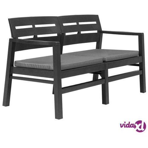 ławka ogrodowa z poduszkami, 2-os., 133 cm, plastik, antracyt marki Vidaxl
