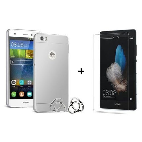Zestaw Obudowa Bumper Metal Mirror Case Srebrna + Szkło ochronne Perfect Glass Huawei P8 Lite