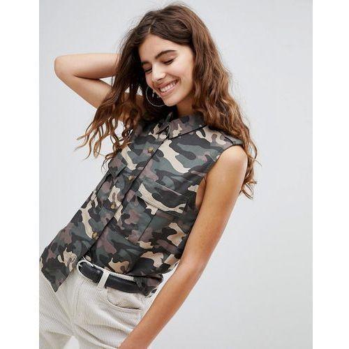 camo sleeveless shirt in khaki - green, Bershka, 34-36