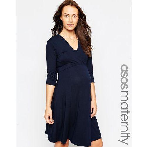ASOS Maternity Mini Dress with V Neck - Navy, kolor niebieski
