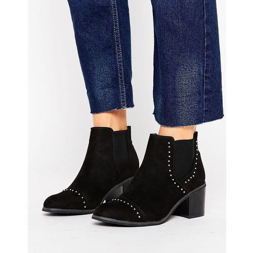 New Look Suedette Stud Detail Heeled Ankle Boot - Black
