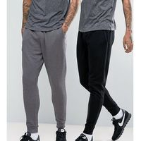 slim joggers 2 pack black/charcoal marl save - multi marki Asos