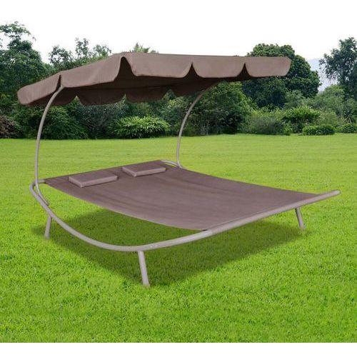 vidaXL Podwójny leżak z baldachimem i 2 poduszkami, brązowy (8718475873983)