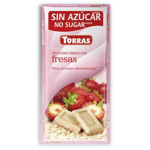 Torras Czekolada biała z truskawkami, bez cukru, bezglutenowa 75g (8410342005731)