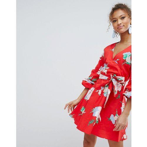 Miss Selfridge Floral Print Puff Sleeve Wrap Dress - Red