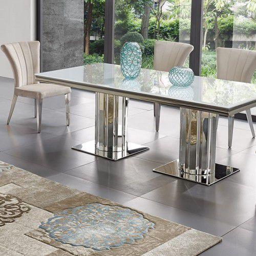 Stół glamour Retford - stal szlachetna blat kamienny nowoczesny