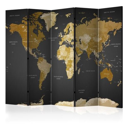 Parawan 5-częściowy - parawan: mapa świata na ciemnym tle marki Artgeist