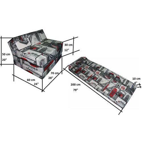 Fotel materac składany 200x70x10 cm - LONDON2 (5902138052119)