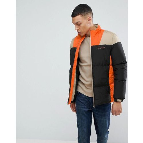 Bellfield puffer jacket in colour block - black