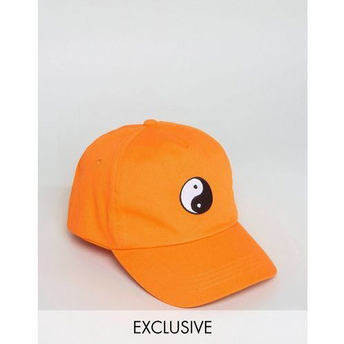 Reclaimed Vintage Inspired Baseball Cap With Yin Yang Embroidery - Orange
