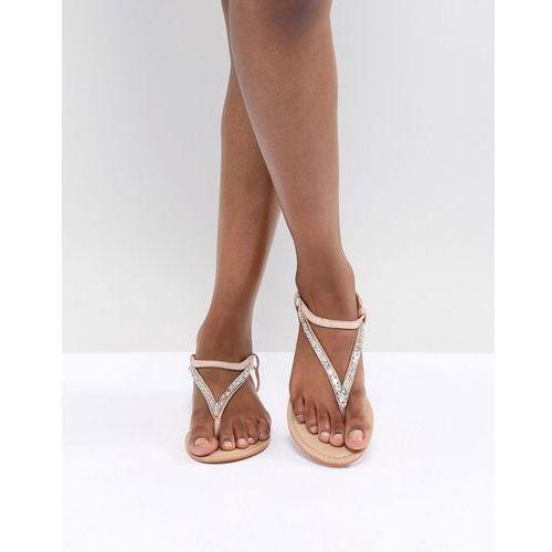 design fixing leather embellished flat sandals - beige, Asos
