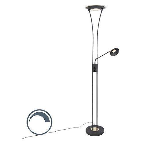 Qazqa Nowoczesna lampa podłogowa czarna z ramieniem do czytania zawiera led - ibiza