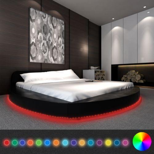 vidaXL Czarne okrągłe łóżko ze sztucznej skóry z taśmą LED 180 x 200 cm