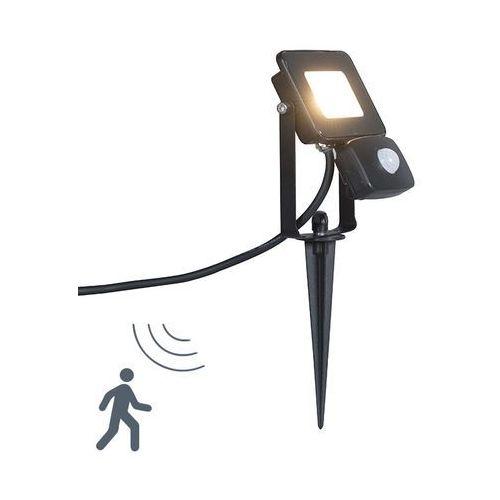 Naswietlacz led radius 1 10w z czujnikiem na podczerwien, czarny z klinem ziemnym marki Qazqa