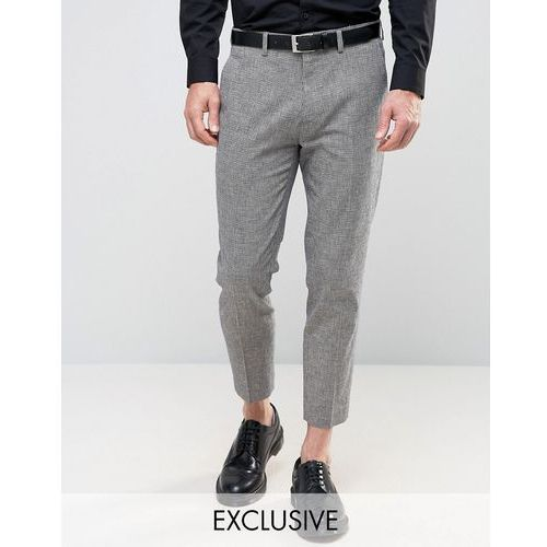 skinny wedding cropped suit trousers in dogstooth - navy, Only & sons