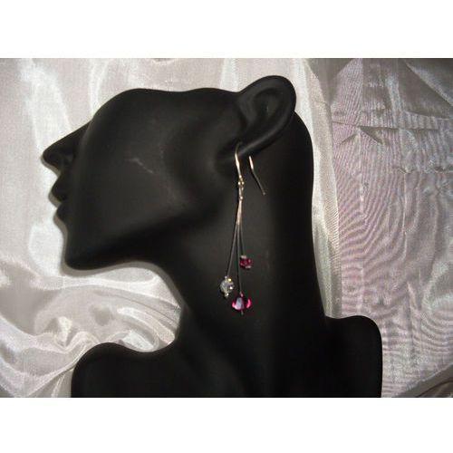 K-00015 Kolczyki z kryształkami Swarovski - w kolorze fuksji, 14-03-11