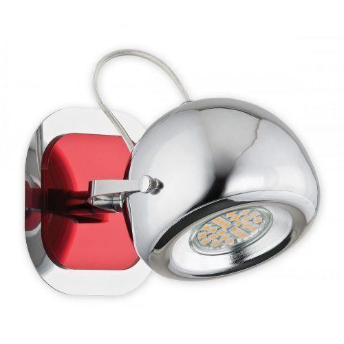 Geos kinkiet / spot 1 pł. / chrom + czerwony, dodaj produkt do koszyka i uzyskaj rabat -10% taniej! marki Lemir