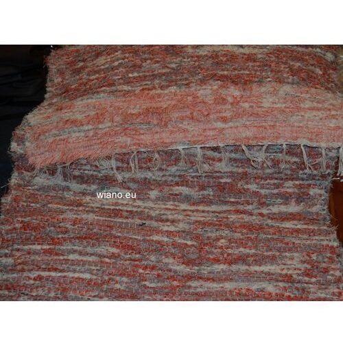 Chodnik bawełniany, ręcznie tkany, pomarańczowo-szaro-ecru 65x150 marki Twórczyni ludowa