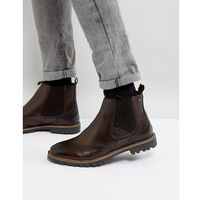 bosworth leather brogue chelsea boots in brown - brown, Base london