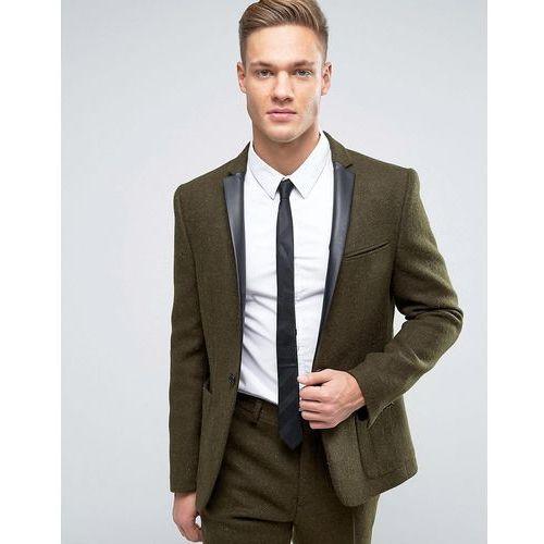 ASOS Slim Blazer In Khaki Harris Tweed 100% Wool with Real Leather Lapel - Green